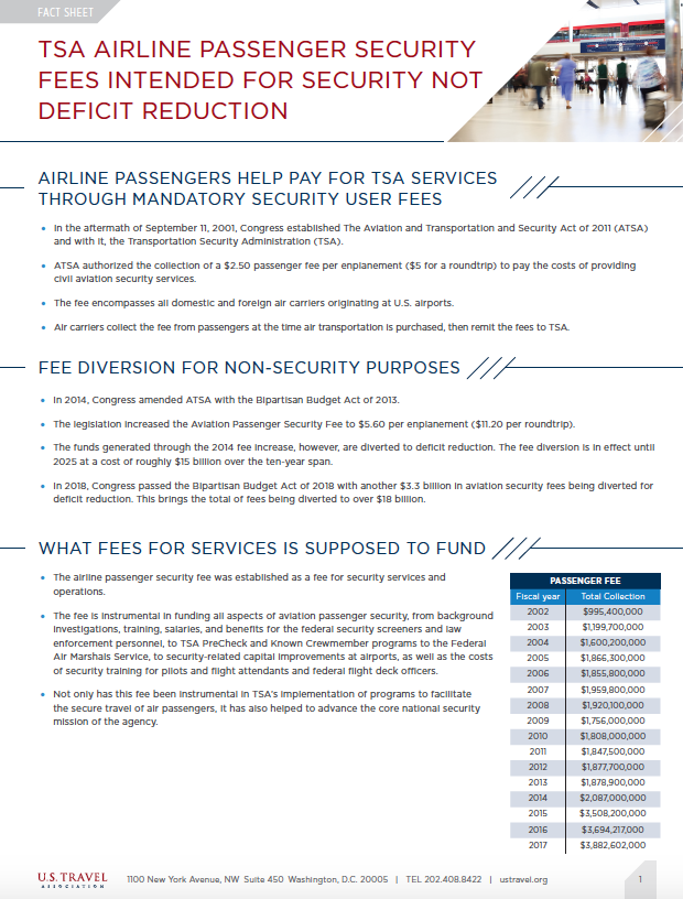 Airline Passenger Security Fees Fact Sheet Screen Grab