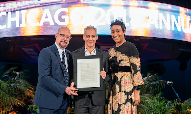 David Whitaker, President & CEO of Choose Chicago; Mayor Rahm Emanuel, City of Chicago; and Desiree Rogers, Chair of Choose Chicago commemorate Global Meetings Industry Day with a Mayoral Proclamation on April 12, 2018 at the Wintrust Arena on McCormick S