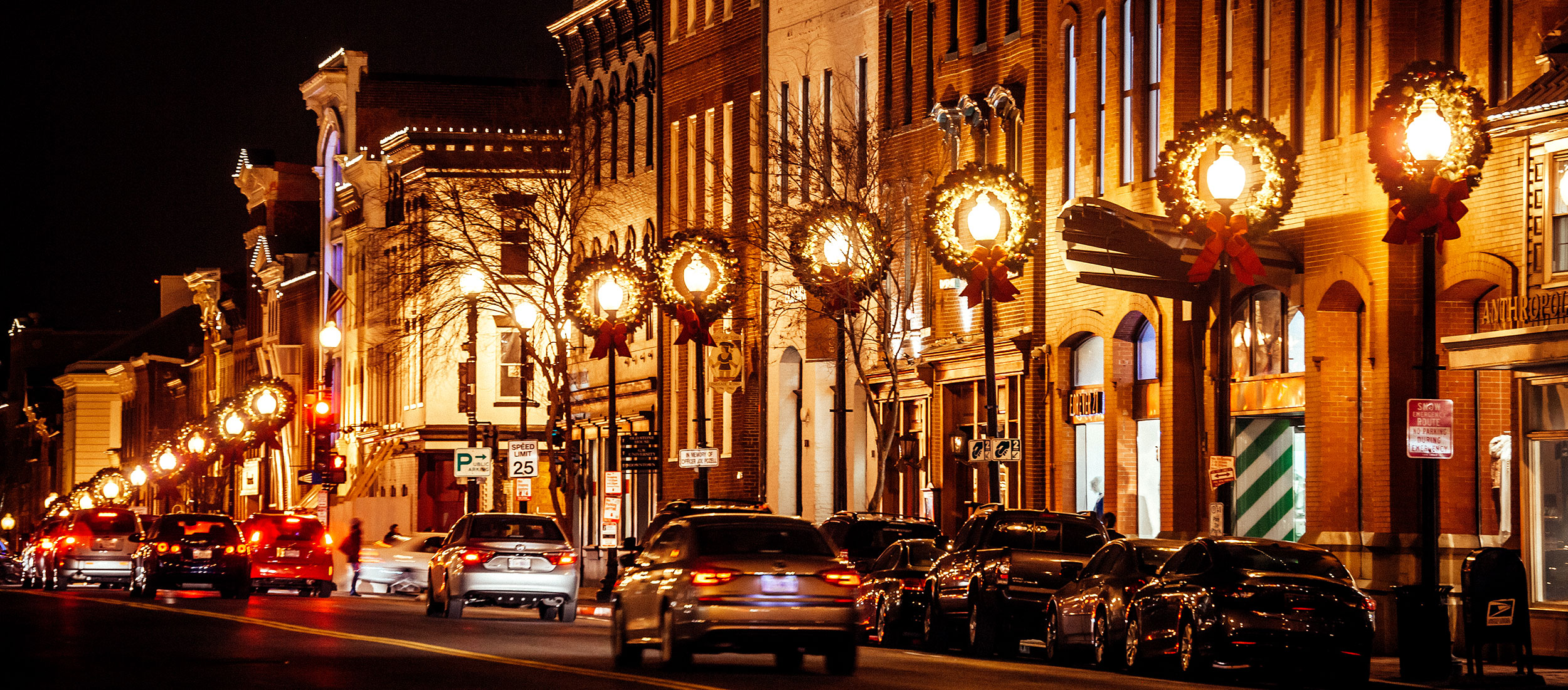 Street in Washington, D.C. decorated for the holidays