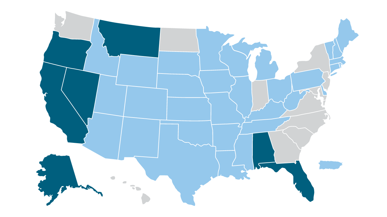 State Tourism Office Budgets Map Image FY2020-21