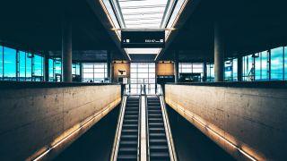 media Airport Infrastructure: Escalators inside gate FAA Modernize