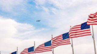 media u.s. american flags airplane sky skies